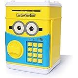 貯金箱 ATM  電子貯金箱 お札 硬貨 黄色い 可愛い バンク おもしろい  自動的にお札を吸う パスワード認証  ダイヤルロック式 誕生日 プレゼント ギフト 音楽放送 暗証番号 大容量   子供のおもちゃ インテリア 日本語版の説明書が付きます