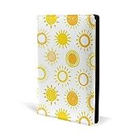 ブックカバー a5 太陽 イエロー かわいい 文庫 PUレザー ファイル オフィス用品 読書 文庫判 資料 日記 収納入れ 高級感 耐久性 雑貨 プレゼント 機能性 耐久性 軽量