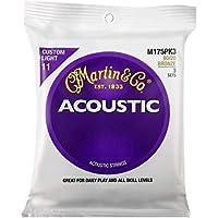 Martin アコースティックギター弦 ACOUSTIC(80/20 Bronze) Multi Packs M-175 PK3 Custom Light .011-.052