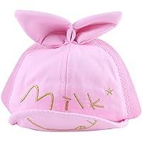 帽子 キャップ 野球帽 べビー キッズ 子供 ユニセックス 男女兼用 シンプル サイズ調整 可能 アウトドア (ピンク)