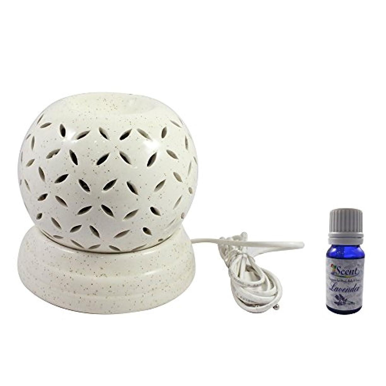 腰問い合わせる恥家庭装飾定期的に使用する汚染されていない手作りセラミックエスニック電気アロマディフューザーオイルバーナージャスミンフレグランスオイル|良質白い色の電気アロマテラピー香油暖かい数量1