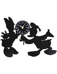 ディズニー 掛け時計 ドナルドダック & デイジーダック メタルフレーム ブラック DIC-019-DL-DK1