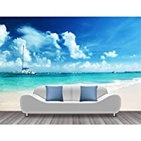Ljjlm 現代の壁紙の壁画のビーチヨットの写真の壁紙壁画のリビングルームの3D自己接着壁紙-120X100Cm