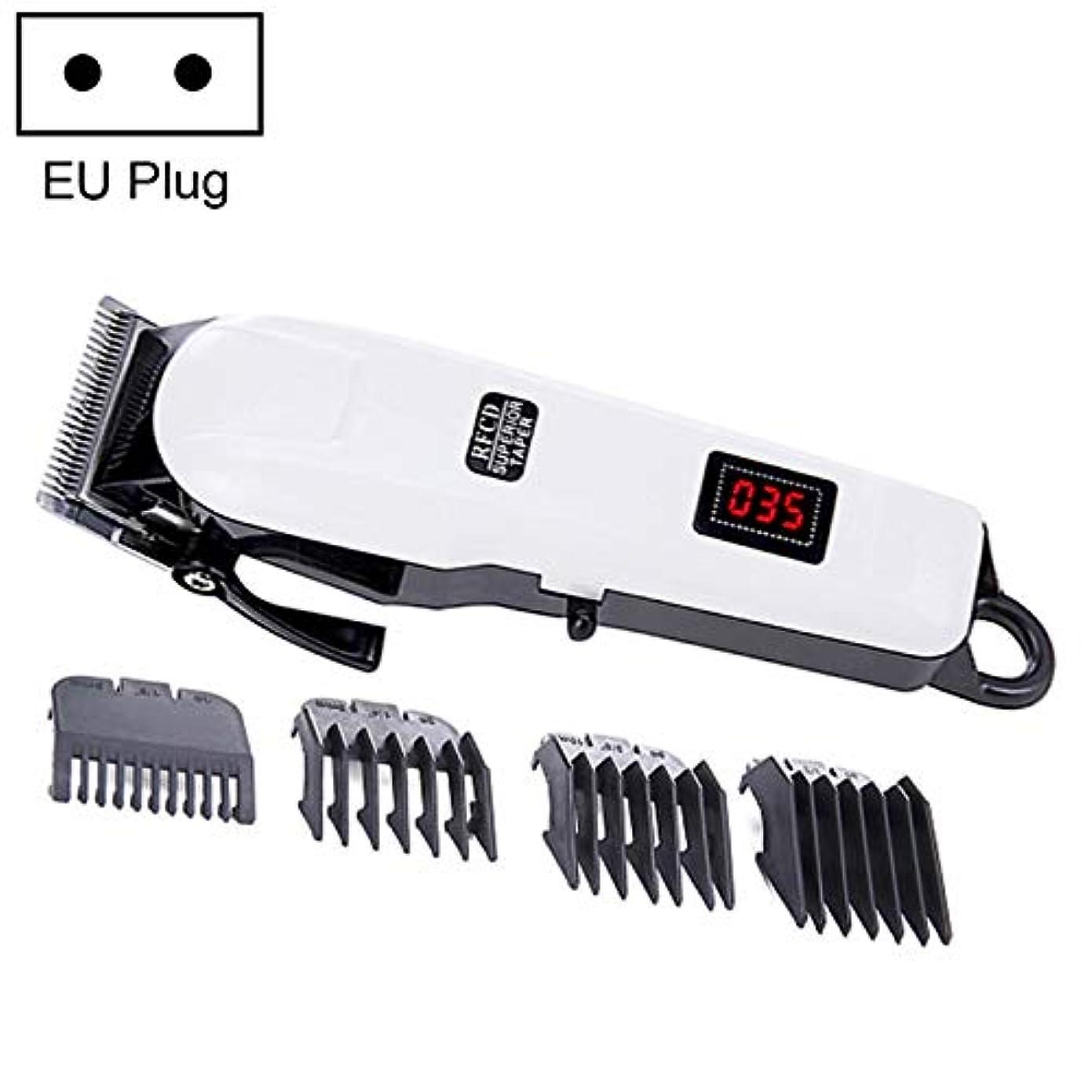 WTYD 美容ヘアツール 精密スチールカッティングヘッド液晶充電ワイヤレス電動ヘアクリッパー、EUプラグ