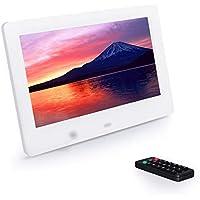 7インチ デジタルフォトフレーム 1024*600解像度 IPS高解像度LEDバックライト液晶 多機能 自動再生 リモコン付き 人感センサー付き 良いギフト (白)