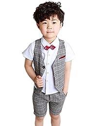 f46301f5b26b0 Bravolive(ブラボーライブ)子供 ボーイズ 半袖 フォーマル スーツ 男の子 チェック柄 4点 セット