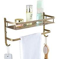 バスルームの棚、壁掛けの銅の棚板2つのフック付きタオルバー付きバスタオル棚