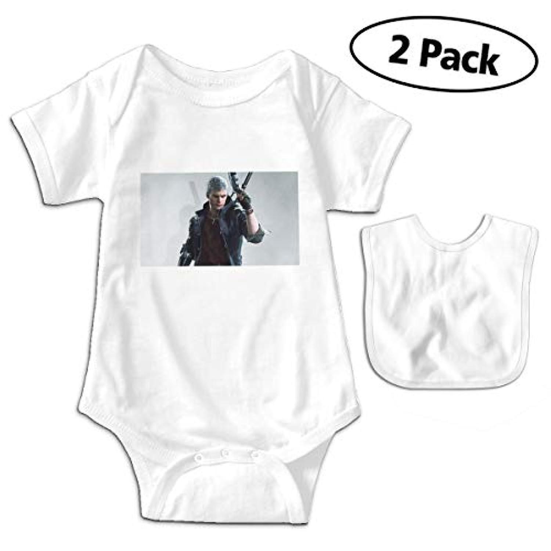 デビル メイ クライ 5 Devil May Cry5 ベビー ロンパース ライミングスーツ 新生児 赤ちゃん tシャツ 連体服 短袖 カバーオール ワンピース かわいい 柔らかい おしゃれ 男の子 女の子 ベビー よだれかけ付き