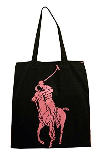 (ポロ ラルフローレン) POLO RALPH LAUREN バッグ ピンクポニー コットン ブラック×ピンク【アウトレ...