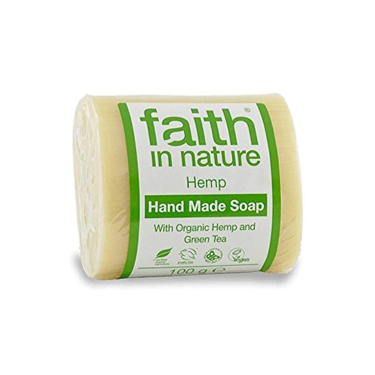 軍団汚れた浴室Faith in Nature Hemp with Green Tea Soap 100g (Pack of 6) - 緑茶石鹸100グラムと自然の麻の信仰 (x6) [並行輸入品]