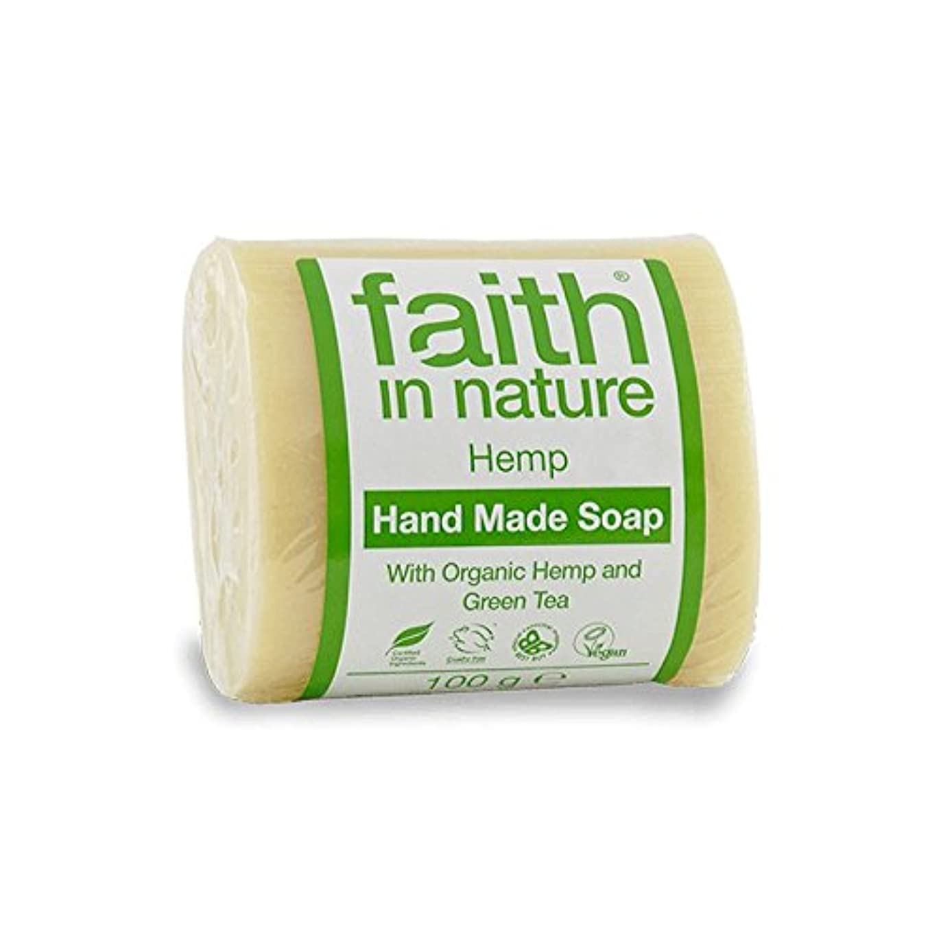 Faith in Nature Hemp with Green Tea Soap 100g (Pack of 2) - 緑茶石鹸100グラムと自然の麻の信仰 (x2) [並行輸入品]