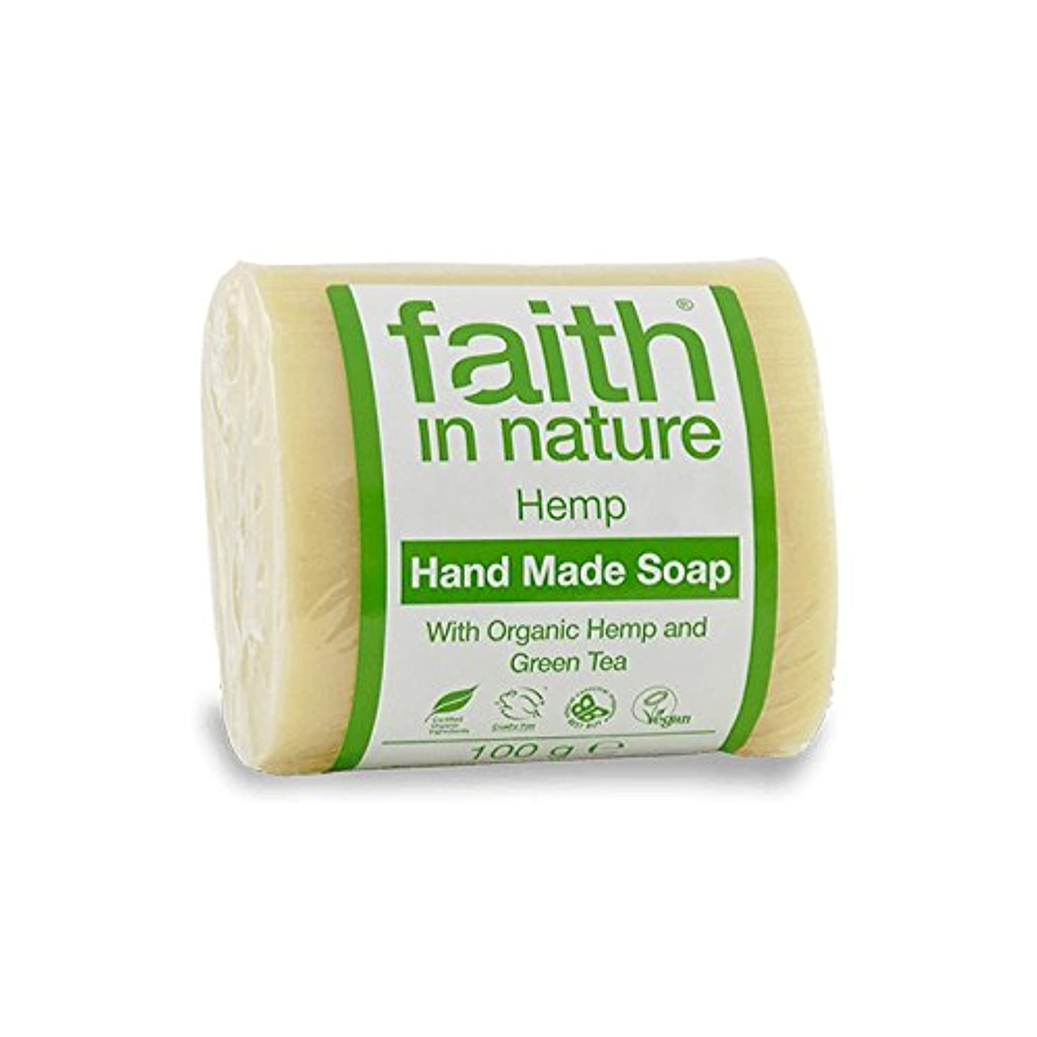 一般的に言えばアヒル石膏Faith in Nature Hemp with Green Tea Soap 100g (Pack of 2) - 緑茶石鹸100グラムと自然の麻の信仰 (x2) [並行輸入品]