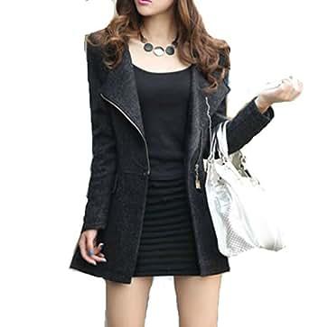 (グレースライフ) GraceLife スリム 美スタイル ジップ デザイン ウールコート (5: ブラック Sサイズ)