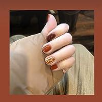 可愛い優雅ネイル 女性気質 手作りネイルチップ 24枚入 簡単に爪を取り除くことができます フレンチネイルチップ 二次会ネイルチップ 結婚式ネイルチップ (キャラメル色)