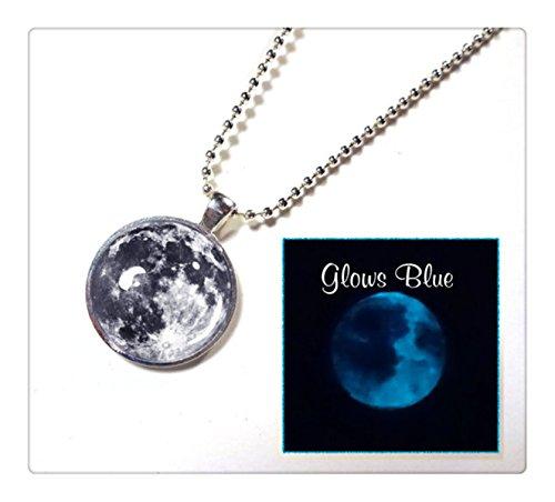[해외]24 인치 실버가 볼 체인 함께 도금 - 빛나는 문 블랙과 화이트 문 - 다크 풀 문 목걸이에서 빛납니다/24 inches of silver ball chain comes plating - Growing Moon Black and White Moon - you light in the dark Full Moon Necklace