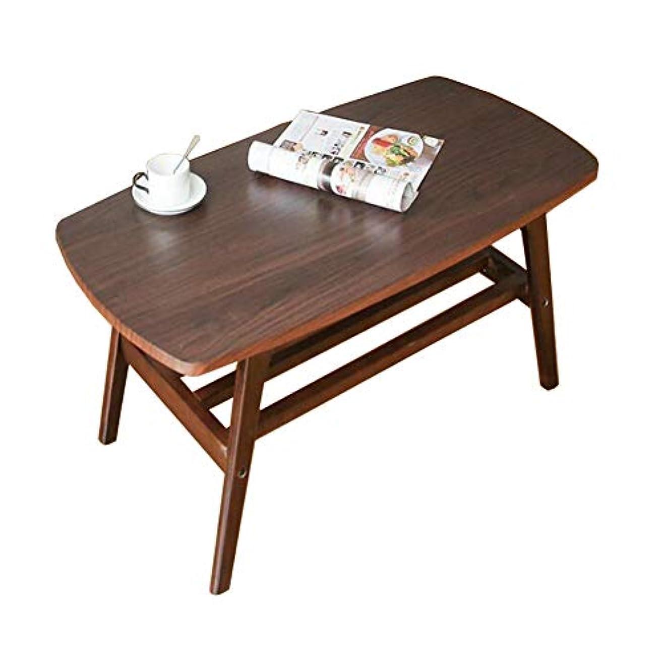 粒幼児深めるCJC 棚付きソリッドウッド長方形のテレビスタンドラウンジ収納付きテーブル大型コーヒーテーブル (色 : Brown, サイズ さいず : 120*55*42cm)