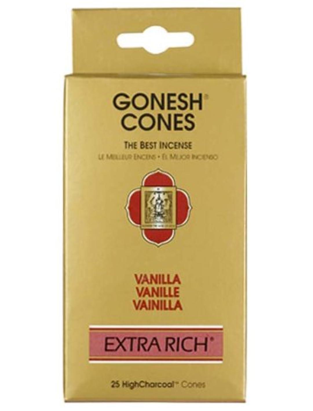 スコットランド人宿命テレビガーネッシュ(GONESH) エクストラリッチ インセンス コーン バニラ 25個入(お香)