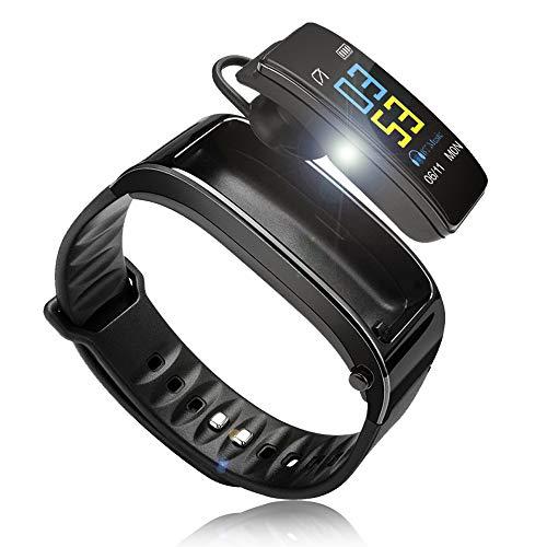 スマートブレスレット スマートウォッチ 通話 腕時計 通話機能付き 日本語アプリ 歩数計 カロリー計 着信通知 (ブラック)