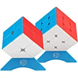 XMD パズルセット 2個入り 2x2 3x3 Magic Cube Set 競技用 【6面完成攻略書付き】 世界基準配色 ver3.1 ポップ防止 FAVNIC 魔方 脳トレ 知育玩具 (ステッカーレス)