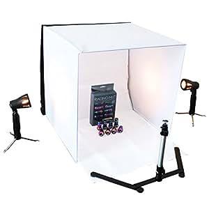 組み立て式 撮影ボックス 50cm×50cm×50cm カメラスタンド + スタンドライト2灯・4色背景布付 撮影ブース 家庭用電源対応