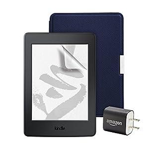 お買い得セット(Kindle Paperwhite マンガモデル 電子書籍リーダー ブラック + 純正レザーカバー ミッドナイトブルー + 保護フィルム + 充電器 )