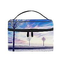 便携式雪の冬の木 メイクボックス 收納抜群 大容量 可愛い 化粧バッグ 旅行