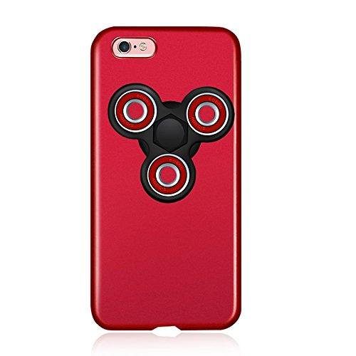iphone 6 plus ケース, Leslife アイフォン6プラスケース 指先ジャイロ付き ハンドスピナー 指スピナー フォーカス玩具 Fidget Spinner hand Spinner Toy + Case Cover ストレス解消 レッド