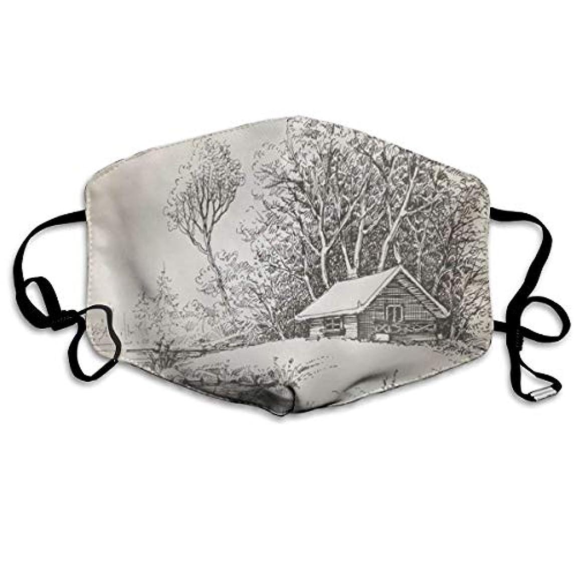 火山の傾くディスパッチウッズの近くの川の銀行のハンドドローイング再利用可能な綿の口のマスクのキャビン、レディースメンズキッズのためのファッションアンチダストフェイスマスク