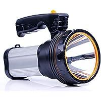 ROMER LED充電式ハンドヘルドサーチライトハイパワースーパーブライト9000 MA 6000ルーメンクリエイティブスポットライトトーチランタン懐中電灯 (銀)