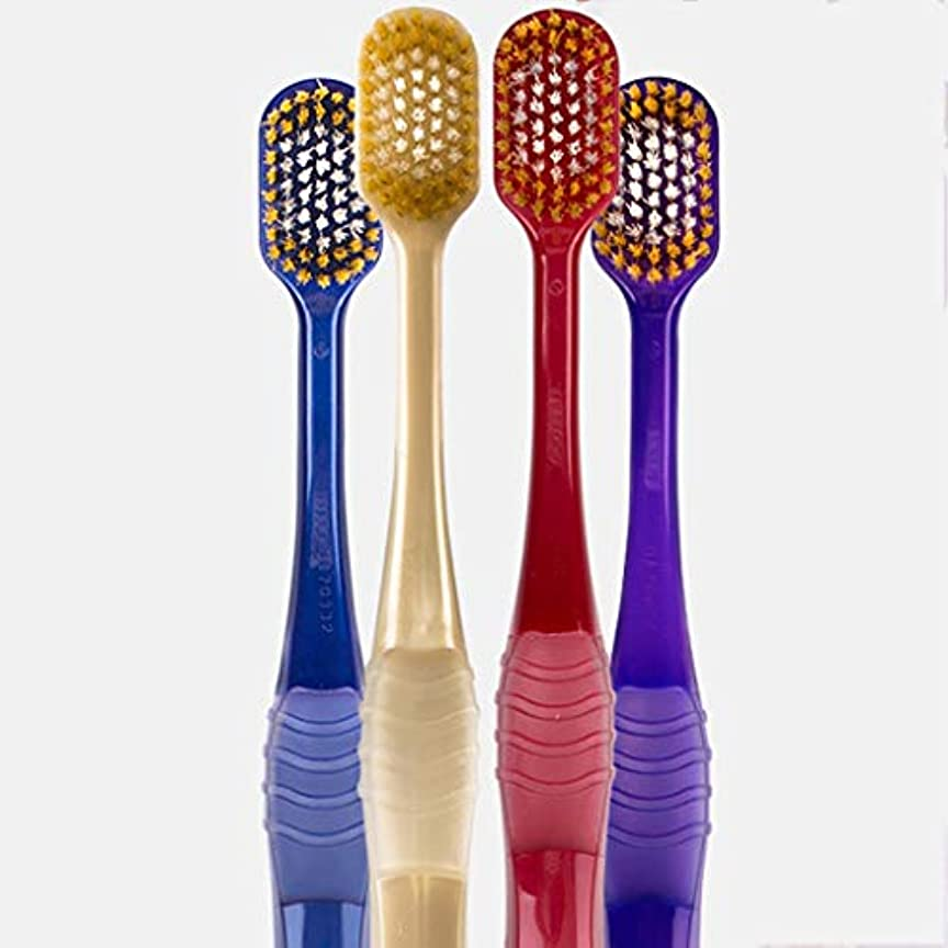 強調するゲインセイ大きい超柔らかい歯ブラシ、大人家庭用歯ブラシ、4パック(ランダムカラー)