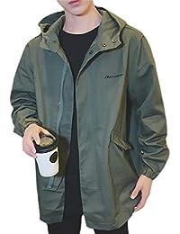 maweisong メンズルースフィット湾曲裾ソリッドカラーコートプラスサイズトレンチコートフルジップコートアウターウェア