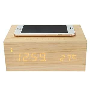 ELEGIANT 木製のヘッドボードのBluetoothスピーカー充電器としても使用可能 携帯電話充電できます、QIワイヤレス充電アラーム時間は、NFC機能を表示します時計、目覚まし時計、スピーカー、温度計、セット・イン・ワン、LEDデジタル表示、温度表示、簡単なセットアップ、操作しやすいです ベージュ