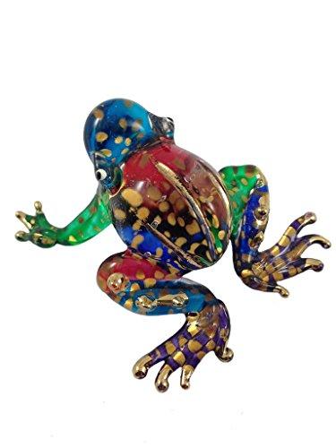 ガラスの動物 カエル 手作り手吹きガラスの ガラス細工 ガラ...