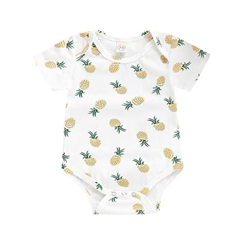 洋子ちゃん 新生児 夏服 半袖 女の子 男の子 パイナップルプリント プリント ロンパース ジャンプスーツ かわいい 肌着 70 80 90 100 3-24か月