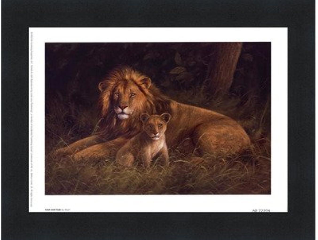 ギャング噴水情緒的Lion and Cub by Kilian – 8 x 6インチ – アートプリントポスター LE_66922-F101-8x6