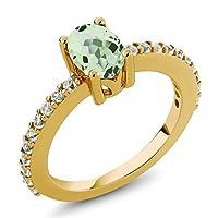 Gem Stone King 1.05カラット 天然 プラジオライト (グリーンアメジスト) 合成ホワイトサファイア (ダイヤのような無色透明) シルバー925 イエローゴールドコーティング 指輪 リング