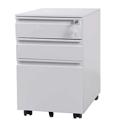 (OSJ) キャビネット 3段 A4対応 鍵付き キャスター付き (ホワイト) (ホワイト)