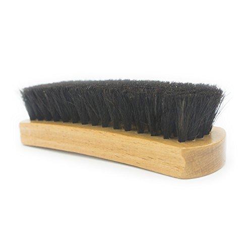 靴磨きブラシ 100%天然馬毛ブラシ 16×5×3cm 靴磨き ブラシ 靴ブラシ 革靴 手入れ シューズブラシ ブラック