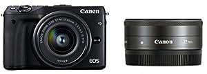 Canon ミラーレス一眼カメラ EOS M3 ダブルレンズキット(ブラック) EF-M15-45mm F3.5-6.3 IS STM EF-M22mm F2 STM 付属 EOSM3BK-WLK2