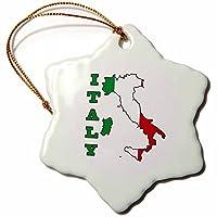 3dローズ777imagesフラグと国のアウトラインのイタリアの国旗マップと名前、イタリア–装飾品をマップ– 3 inch Snowflake Porcelain Ornament orn_63167_1