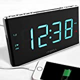 Radio Alarm Clock, iTOMA FM Digital Radio Clock Bedside Alarm Clock with Dual Alarms, 4 Level Dimmer Control, 1.8-inch LED Display, White Noise, Input Backup Battery Cell Phone USB Charging Function (CKS703 )