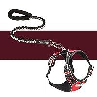 大型犬の防爆牽引ロープ黒+胸部ストラップ(赤)lに適したトレーニング牽引ロープ伸縮式犬の牽引ロープベスト胸胸部