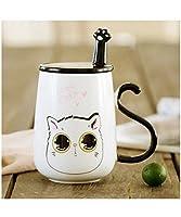 Shellme 猫のセラミックカップ 可愛い マグカップ 蓋付き スプーン付き ミルクカップ カップルカップ 萌え湯飲み 大容量 耐高温 通勤 通学 プレゼント