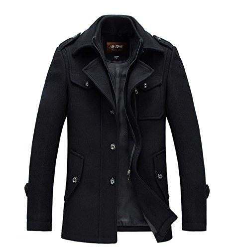 ショートトレンチ ウールコート 英国風 3色展開 付属 NYC0119 (M/170, ブラック)