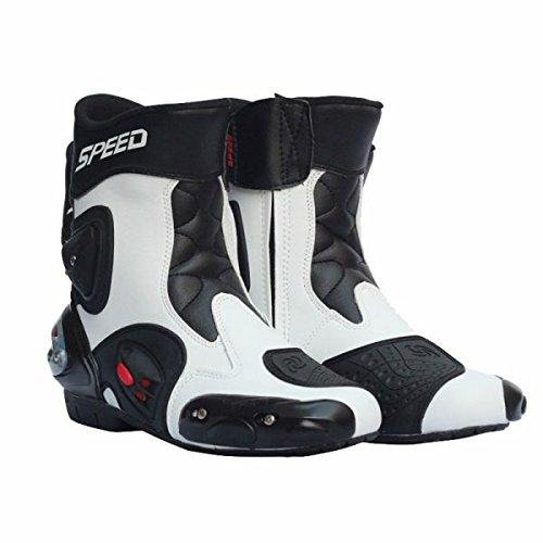 メンズ オートバイ靴 バイク靴 バイク用レーシングブーツ ライディングシューズ レーシングブーツ プロテクトスポーツブーツ サイズ40(約25-25.5CM) ホワイト