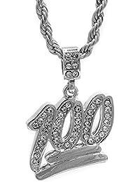 Hip Hop Blingシルバートーンの絵文字100ペンダントフリー24