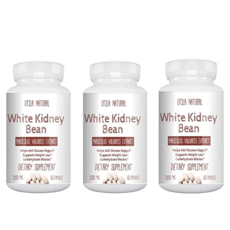 こっそり十代の若者たちボイラーお得な3個セット! 白いんげん豆サプリ ホワイトキドニービーン抽出液  600mg 60ベジタブルカプセル White Kidney Bean [並行輸入品]