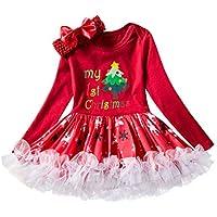 クリスマス チュチュロンパードレス Girls Christmas Dress ガールズフォー -赤ちゃん サンタ クリスマス パーティードレス 衣装 ヘッドバンド 丸首 Zhhlaixing
