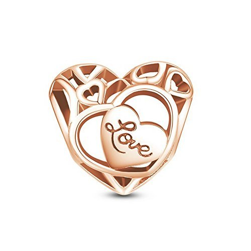 Glamulet Art Women's 925 Sterling Silver Rose Gold Love Heart Openwork Charm Fits Pandora Bracelet by Glamulet