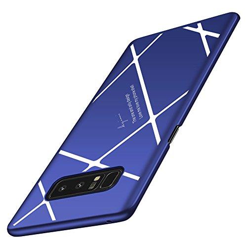 Samsung Galaxy Note 8 ケース 耐衝撃 超薄 軽量 高品質PC 360度全面保護 保護カバー 薄型 スマホケース おしゃれ かっこいい YURI-shop (Samsung Galaxy Note 8, ブルーサファイア+ホワイト)